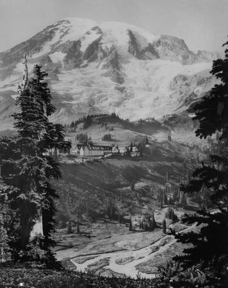 A view of Paradise Inn in Rainier National Park in 1954. (Photo by Rainier National Park Co.) Photo: P-I File
