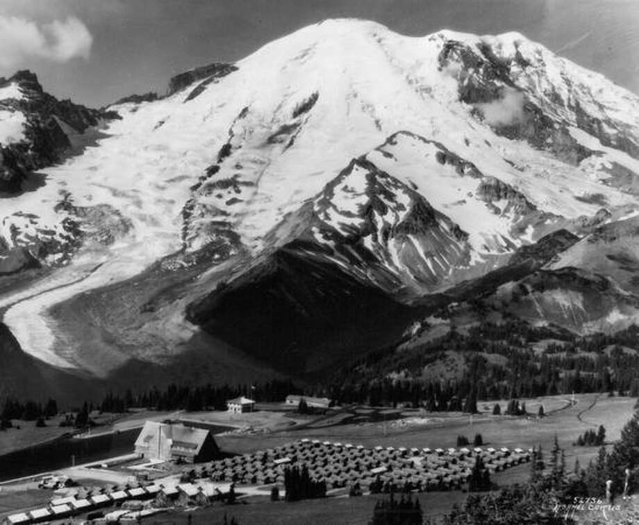 This photo shows early resort facilities at Mount Rainier's Sunrise. Date unknown. Photo: P-I File