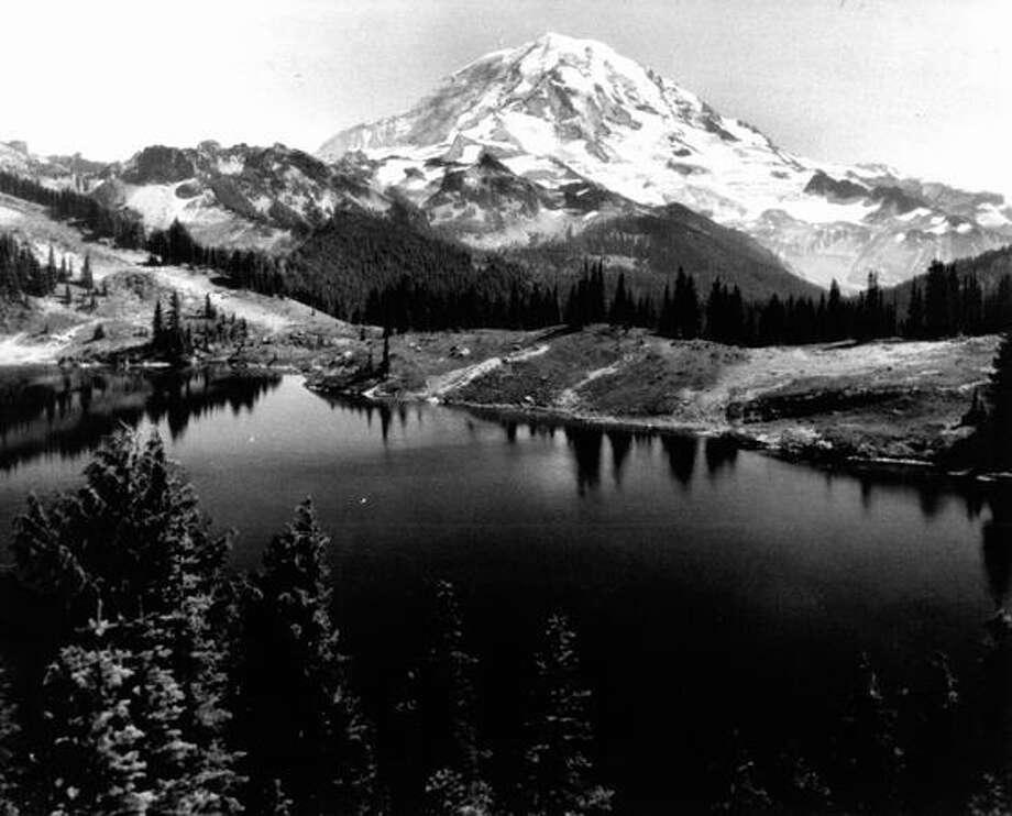 Circa 1920 - Mount Rainier from Eunice Lake. (Asahel Curtis) Photo: P-I File