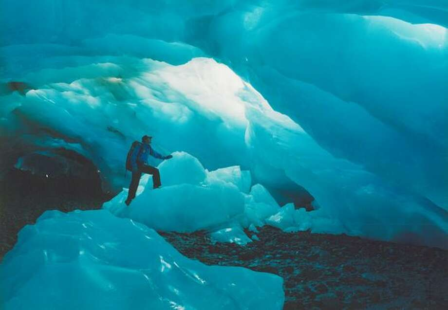 Ice caves at Mount Rainier, September, 1987. Photo: P-I File