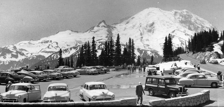 A view of Mount Rainier from Inspiration Point on the road to Sunrise Lodge, 1962. Photo: P-I File
