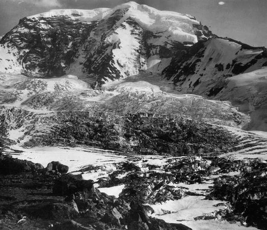 This picture of the treacherous Carbon Glacier vividly depicts the rugged terrain in August 1941. Photo: P-I File