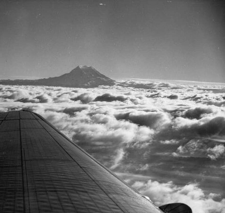 A view of Mount Rainier from the air in September 1951. Photo: P-I File