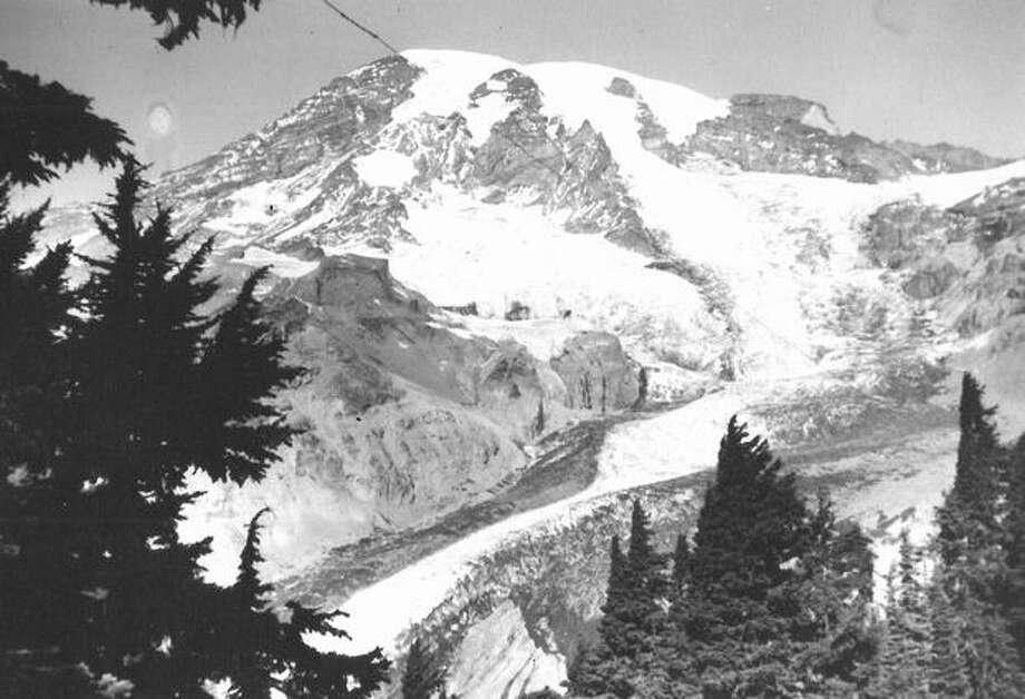 Mount Rainier looking towards the Nisqually Glacier from Paradise Valley in June 1939. Photo: P-I File
