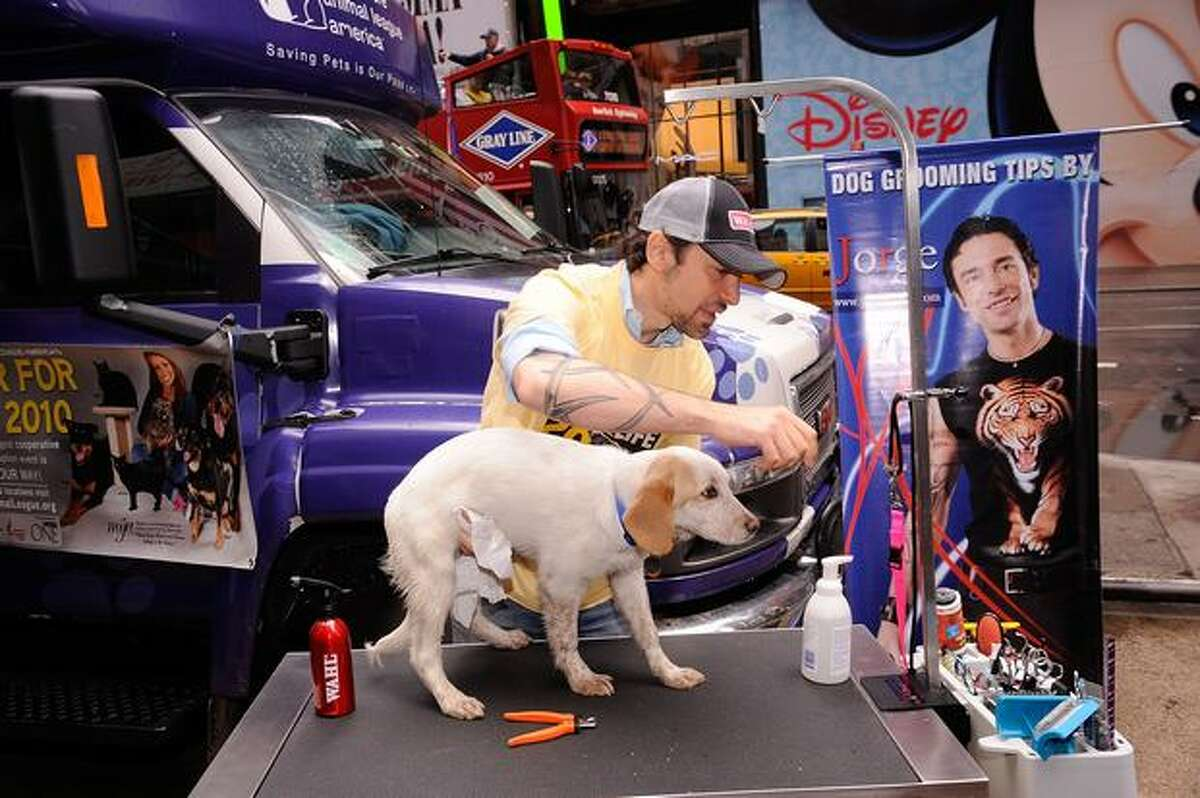 Celebrity dog groomer Jorge Bendersky attends Mya Hosts North Shore Animal League America's Tour For Life at Times Square in New York City.