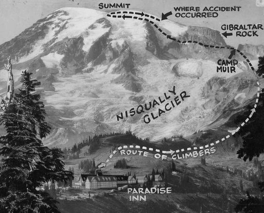 July 1929: A photo diagram of the route taken by six daring climbers before their fatal plunge at the 13,000-foot level on their return trip from the summit. The party stayed all night at Camp Muir at the 10,000-foot level before beginning the perilous ascent. Photo: P-I File