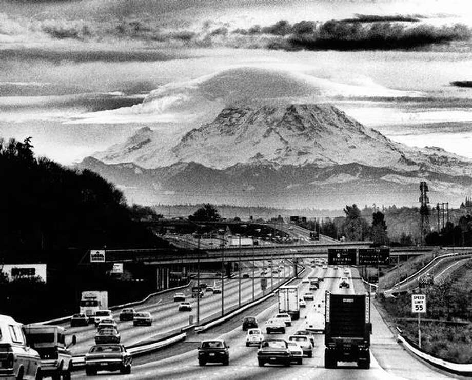 Mount Rainier in February 1977. (Grant Haller/P-I) Photo: P-I File