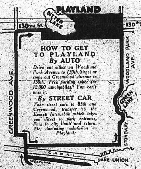 A map in a May 23, 1930 Seattle Post-Intelligencer ad showing where Playland was located.