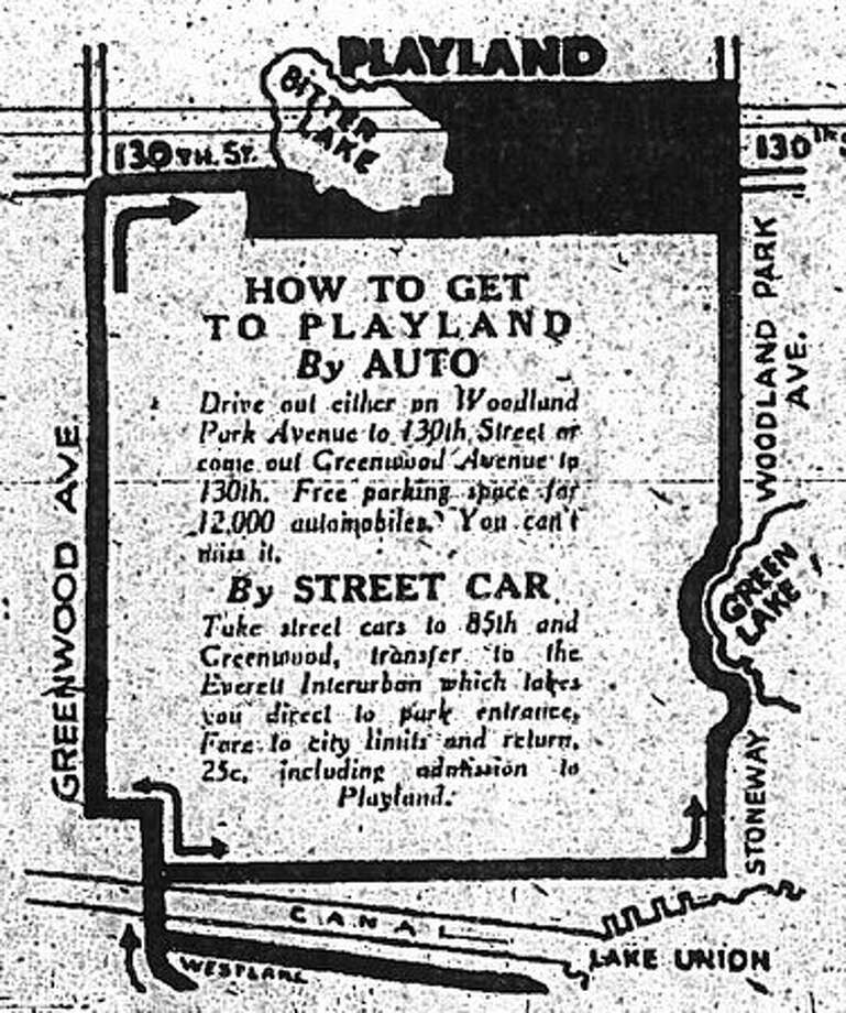 A map in a May 23, 1930 Seattle Post-Intelligencer ad showing where Playland was located. Photo: P-I File