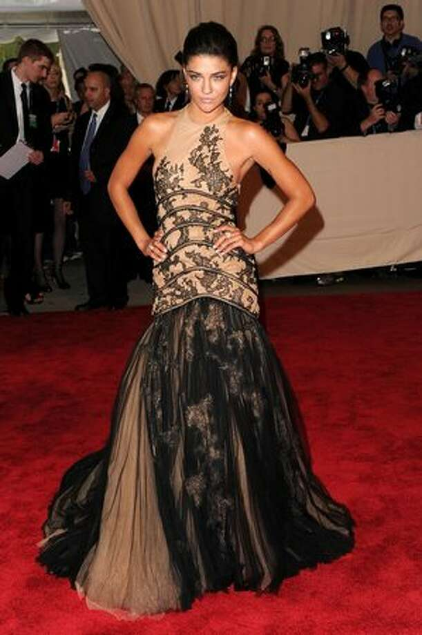 Actress Jessica Szohr arrives, wearing Versace. Photo: Getty Images