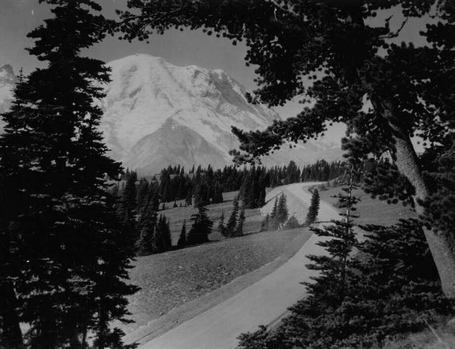 A tree-framed view of Mount Rainier and new highway into the Sunrise district of Rainier National Park, July 1961. (Photo by Rainier National Park). Photo: P-I File