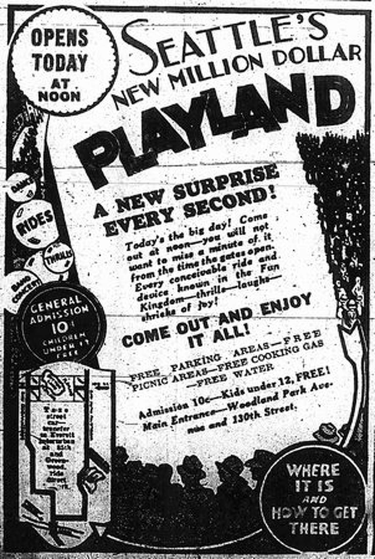 A May 24, 2010 Seattle Post-Intelligencer ad for the opening of Playland.