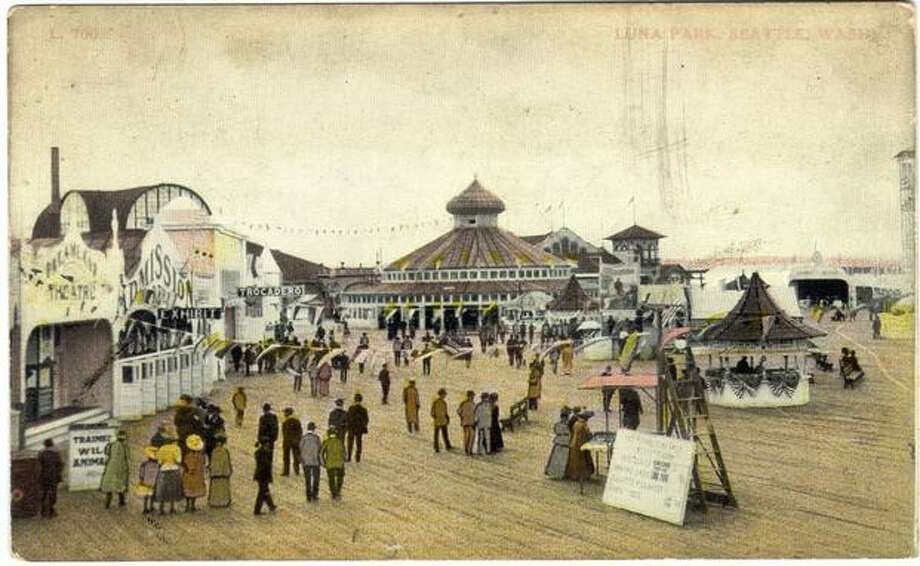 Luna Park, built on a pier in West Seattle, was designed as the Coney Island of the West. The park, shown in this postcard circa 1910, was crowded with rides, amusements, an indoor swimming pool and the longest bar on the bay. Luna Park was closed in 1913, five years after it opened. Photo: P-I File