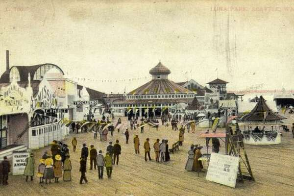 Luna Park, built on a pier in West Seattle, was designed as the Coney Island of the West. The park, shown in this postcard circa 1910, was crowded with rides, amusements, an indoor swimming pool and the longest bar on the bay. Luna Park was closed in 1913, five years after it opened.
