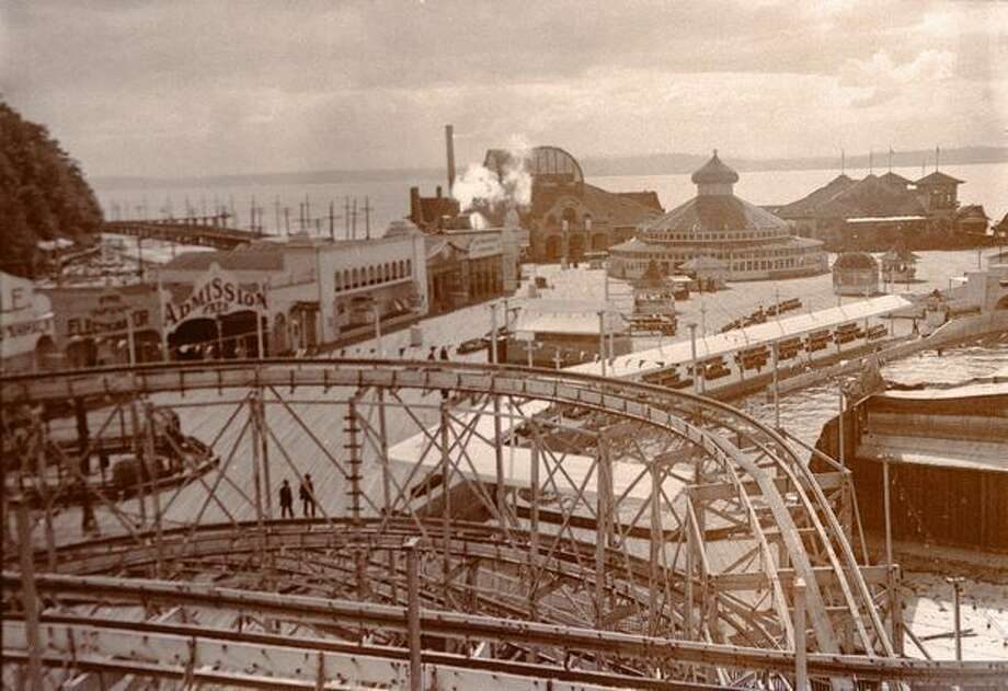 Seattle's Luna Park, which opened in 1907, had a figure-eight roller coaster and water slide ride. Photo: P-I File