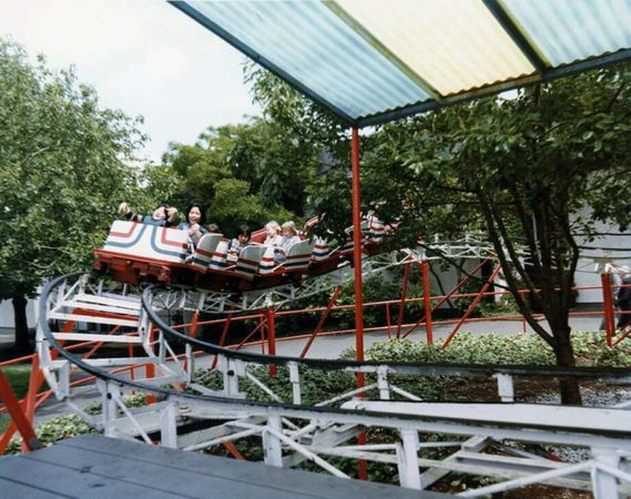The Kiddieland little roller coaster at the Fun Forest, circa 1970. (Seattle Municipal Archives/73174) Photo: P-I File