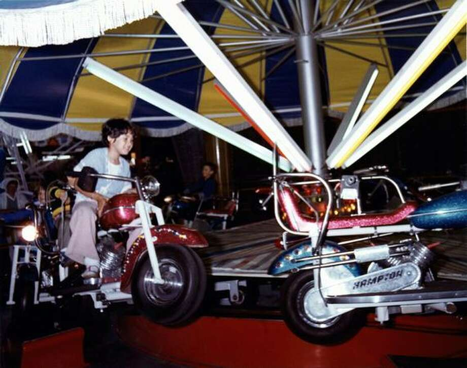 The Kiddieland motorcycle ride at the Fun Forest, circa 1970. (Seattle Municipal Archives/73215) Photo: P-I File