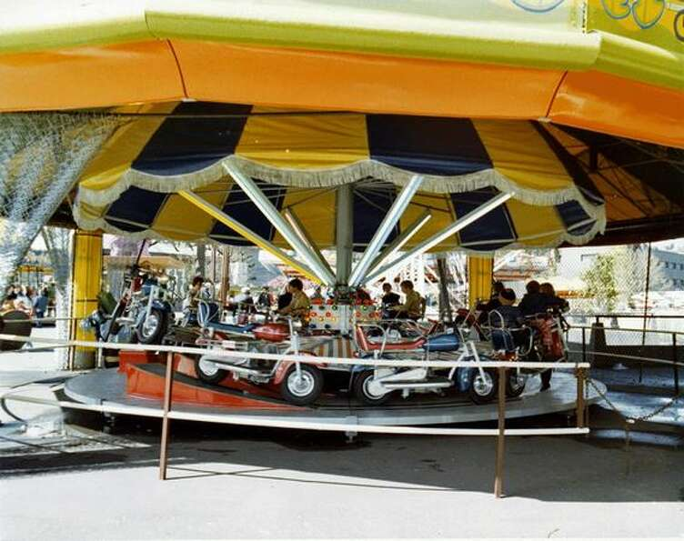 The Kiddieland motorcycle ride at the Fun Forest, circa 1970. (
