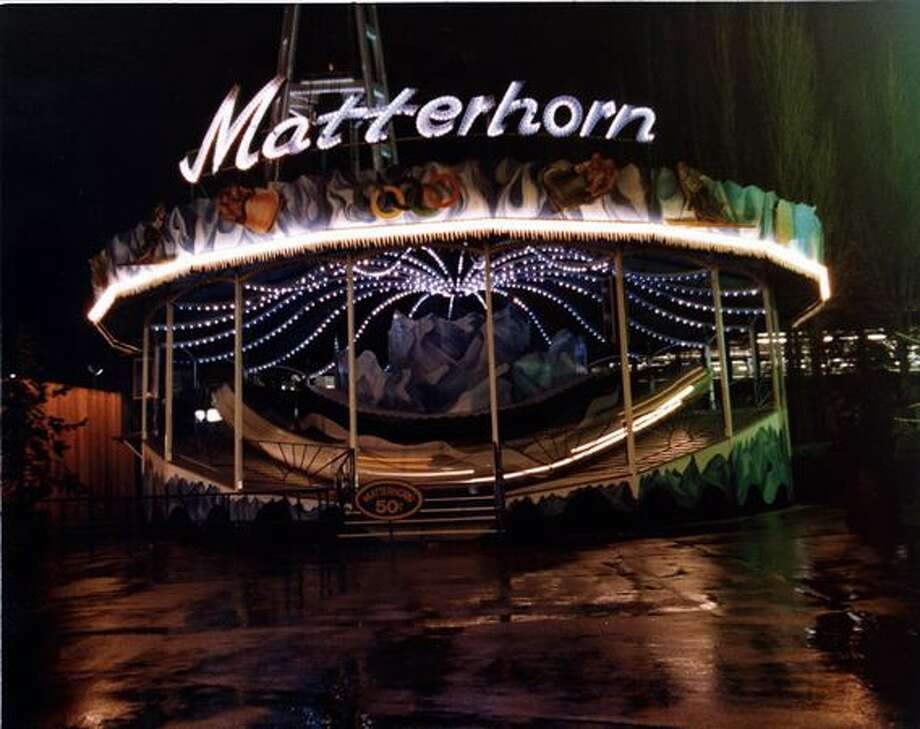 A night shot of the Matterhorn ride at the Fun Forest, circa 1970. (Seattle Municipal Archives/73202) Photo: P-I File