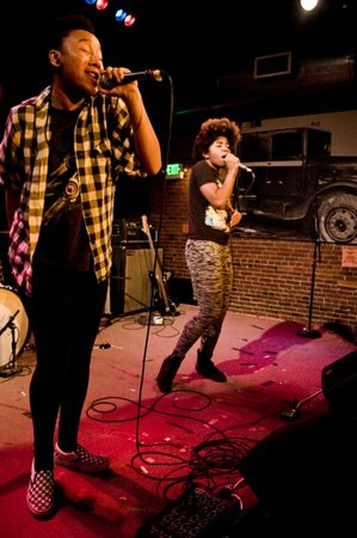THEESatisfaction perfroming at the SXSW sendoff party at the Tractor. (photo courtesy of Nate Watters)