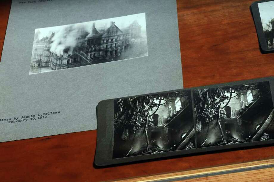 A stereoscopic picture of the Capitol fire of March 29, 1911, on exhibit in the  New York State Library on Thursday March 10, 2011 in Albany, NY.  Philip Kamrass / Times Union ) Photo: Philip Kamrass