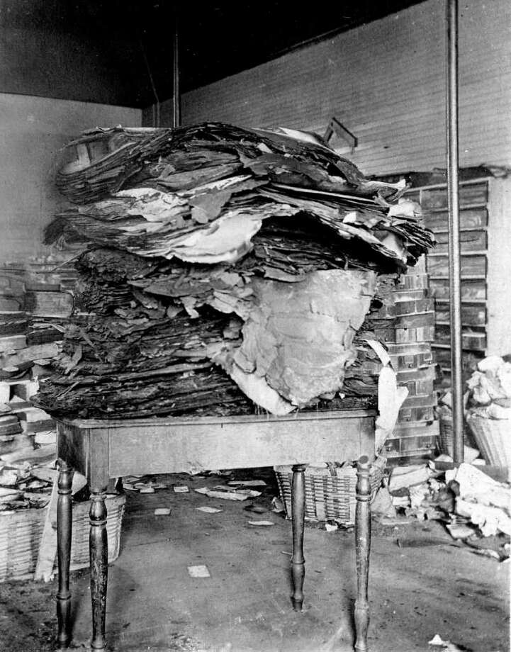 Burnt artifacts salvaged from the State Capitol fire of March 29, 1911 in Albany. (Courtesy NYS Library)