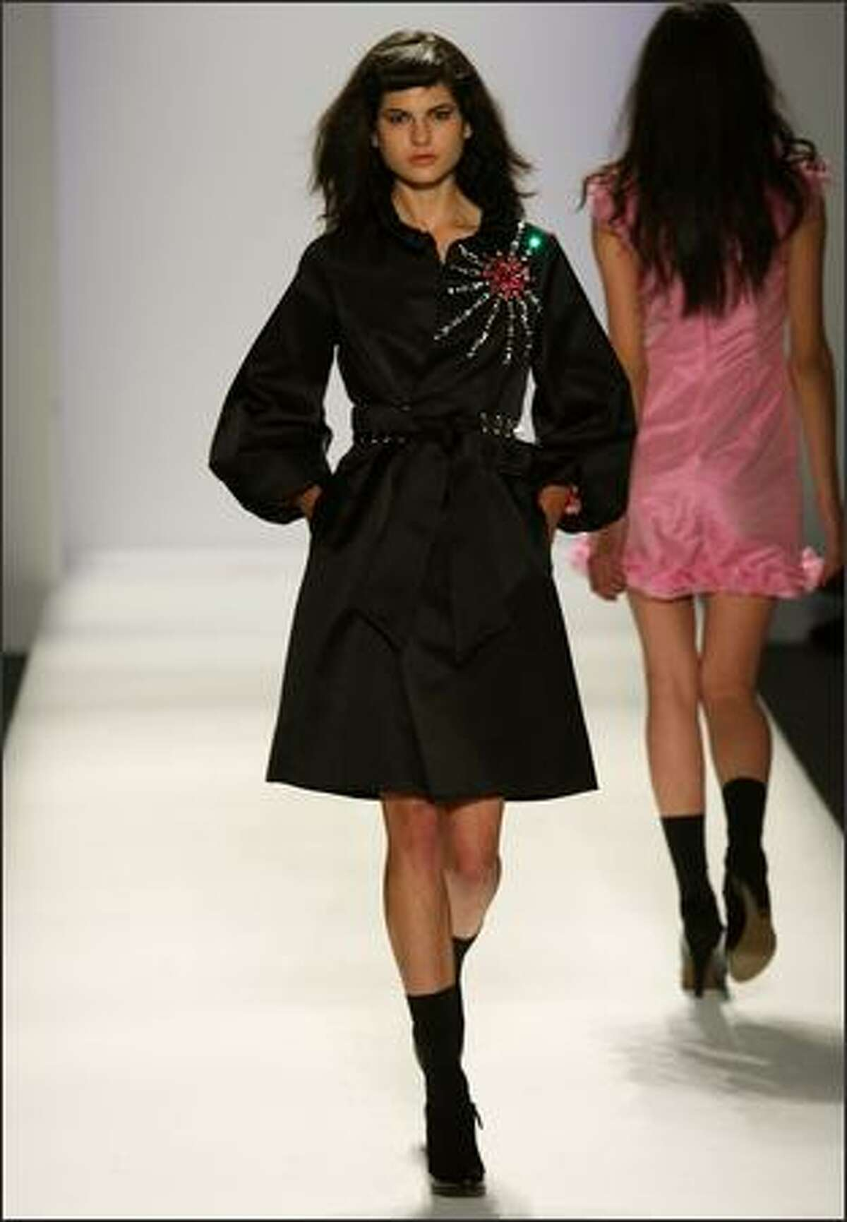 A model walks the runway at the Verrier fashion show.