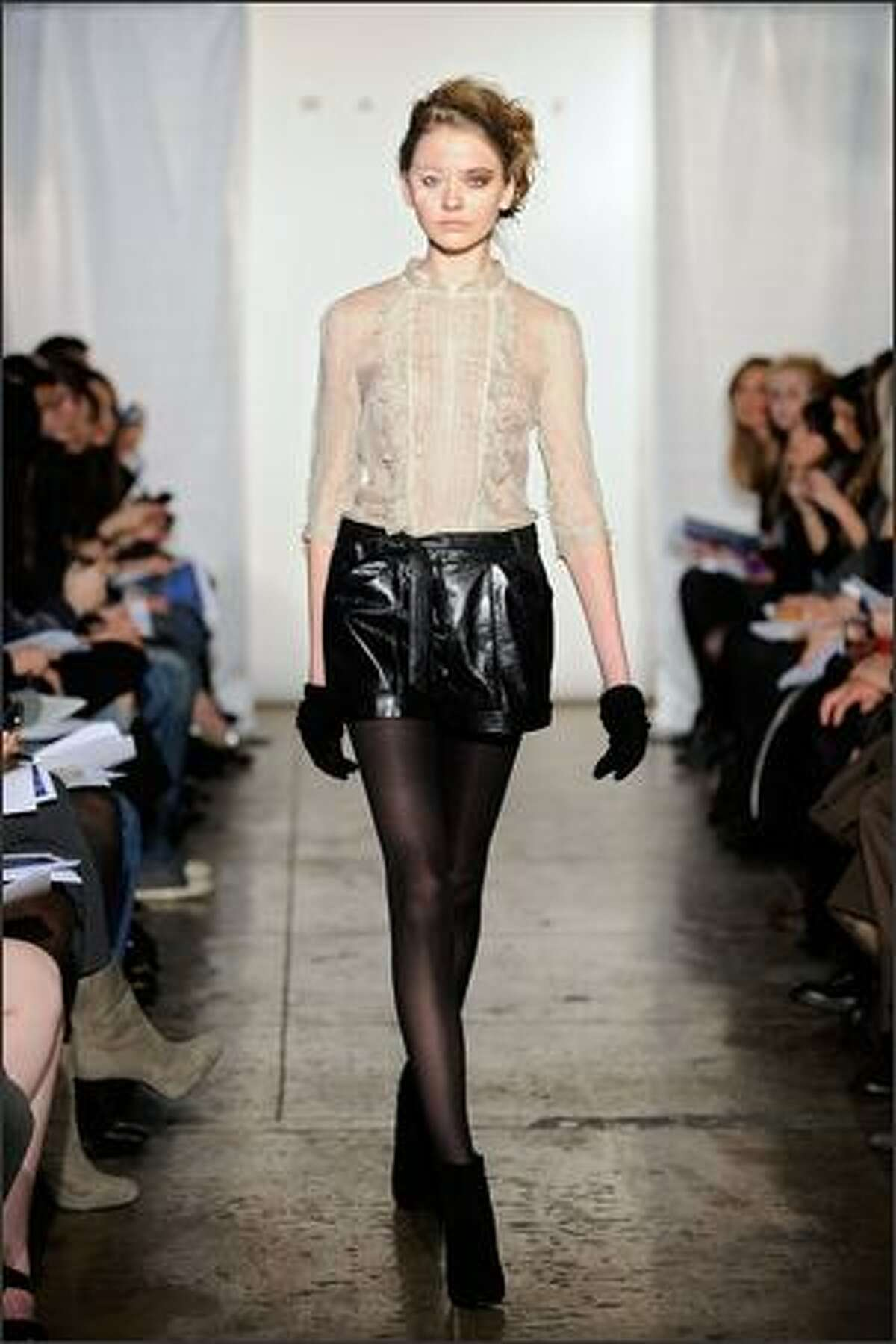 A model walks the runway at the Walter Fall 2009 fashion show during Mercedes-Benz Fashion Week in New York City.