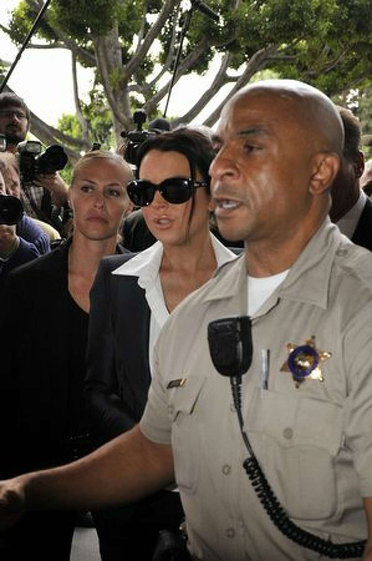 Lohan arrives at court for her probation status hearing on Monday.