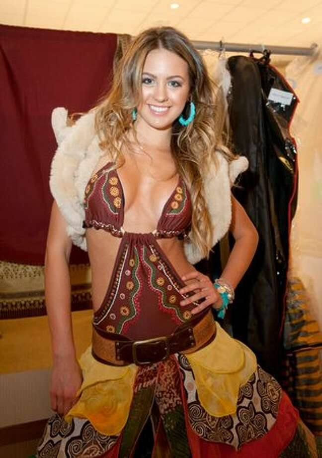 Jesinta Campbell, Miss Australia 2010, offers a closer look at her controversial costume. Photo: Miss Universe L.P., LLLP