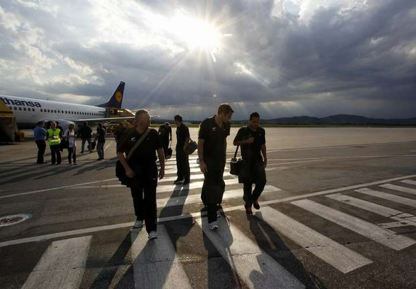 New Zealand national soccer (football) team players arrive at the airport in Graz. The New Zealand team will train at a camp in Sankt Lambrecht, about 120 kilometres from Graz, ahead of the 2010 World Cup which takes place from June 11 until July 11 in South Africa.