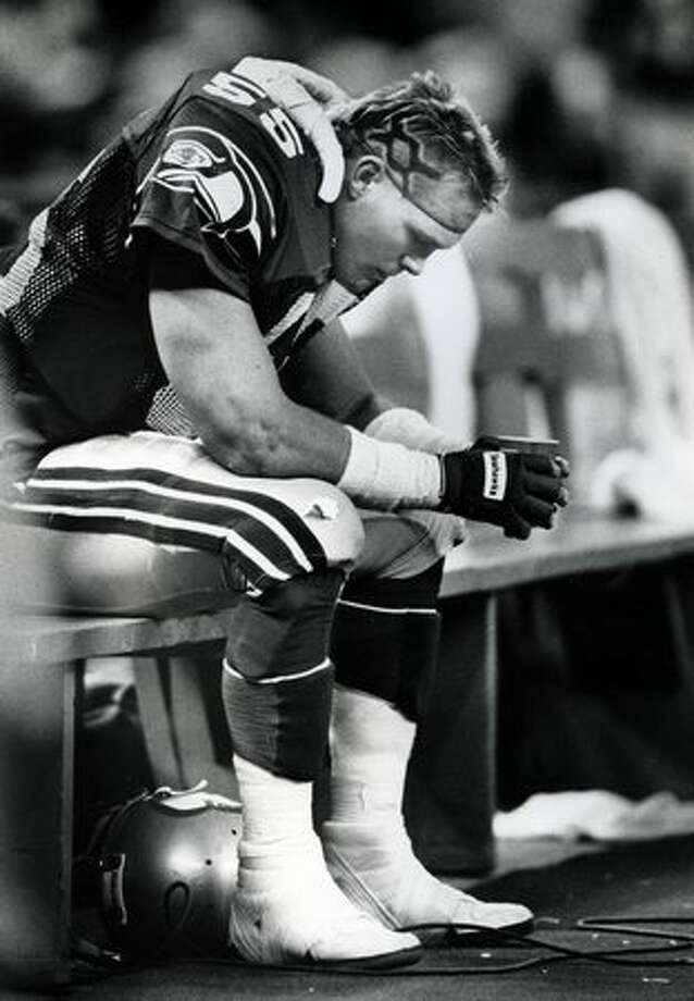 Brian Bosworth - With the exception of Cris Carter ('87) and Bernie Kosar ('85), has a decent player ever come out of a supplemental draft? And yet, the Seahawks took a chance on Bosworth after he failed to declare in time for the 1987 draft. They should have known better. Bosworth started 12 games his rookie season, 10 his sophomore and just two games in his third before abruptly retiring due to a shoulder injury he suffered during the '88 season. Known more for his brash talk (and humiliating loss to the Bo Jackson Raiders of '87) than his on field walk, Bosworth will always have a place on this top 10 list. Photo: P-I File