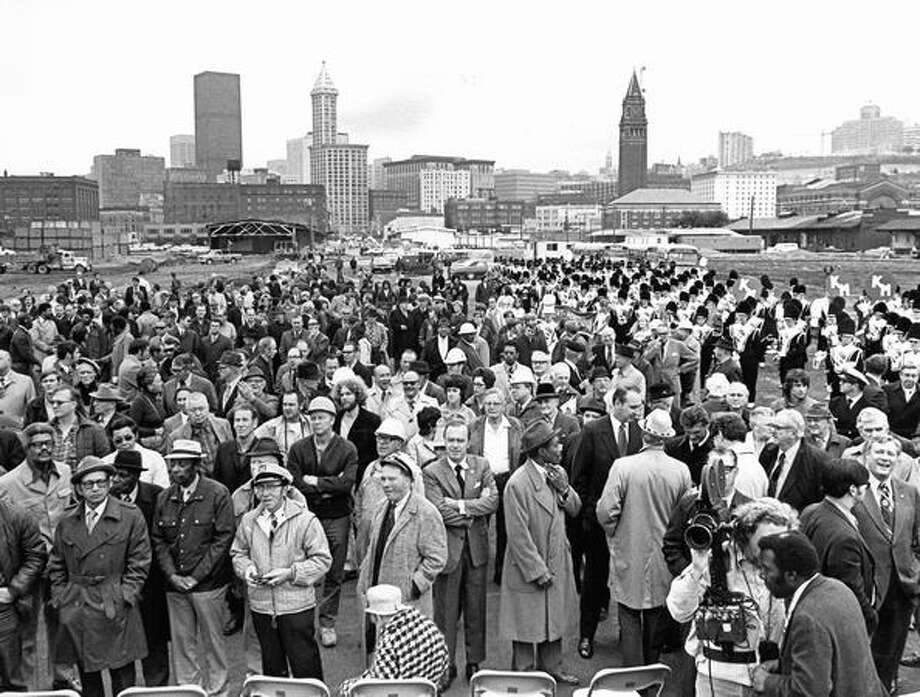Crowds at the groundbreaking ceremony for the Kingdome, Nov. 2, 1972. Photo: P-I File