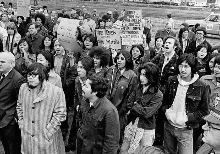 Protestors from the International District disrupt the groundbreaking ceremony for the Kingdome, Nov. 2, 1972. Photo: P-I File