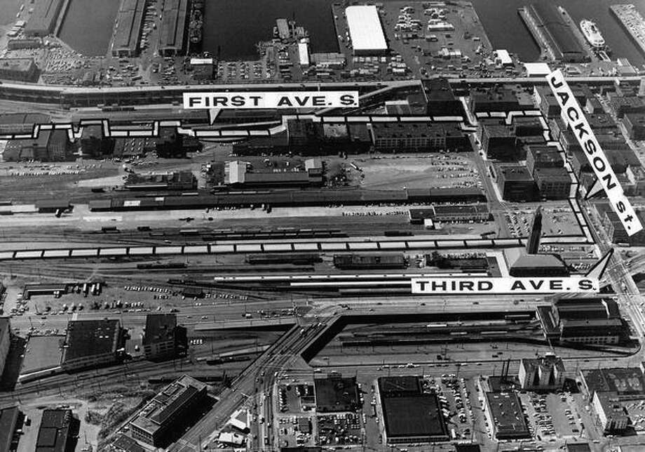 This picture shows where Qwest Field now stands. Most of the area was the former site of the Kingdome. The January 1971 photo caption read: Dotted lines show stadium site selected by state commission yesterday. Photo: P-I File