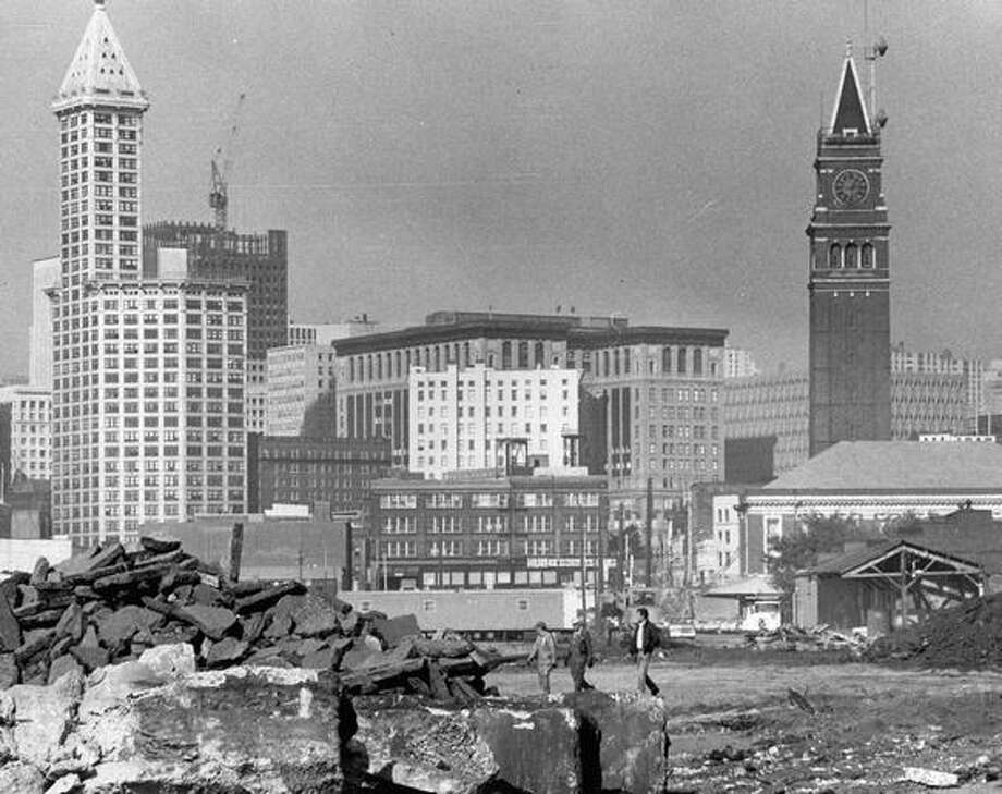 Chinatown/International District demolition at the future site of the Kingdome, October 1972. Photo: P-I File