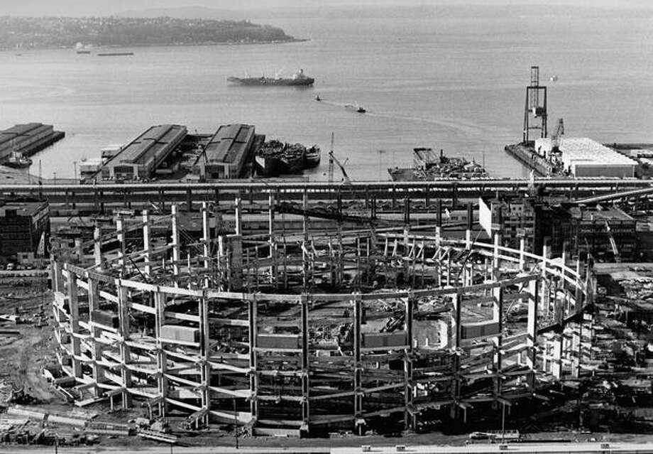 Kingdome construction, Jan. 17, 1974. Photo: P-I File