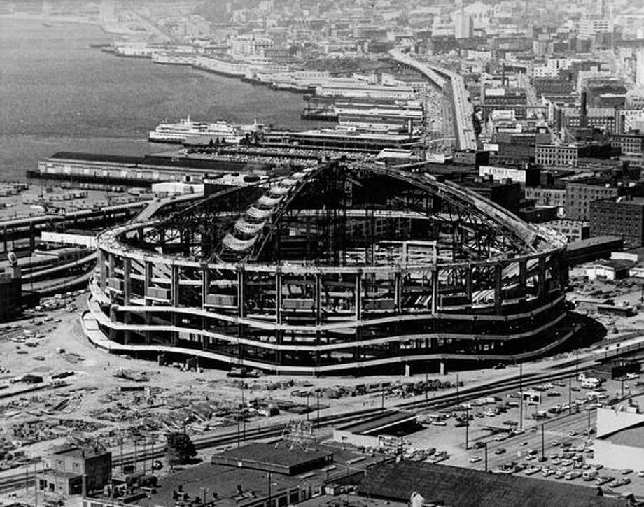 Kingdome construction, Sept. 11, 1974. Photo: P-I File