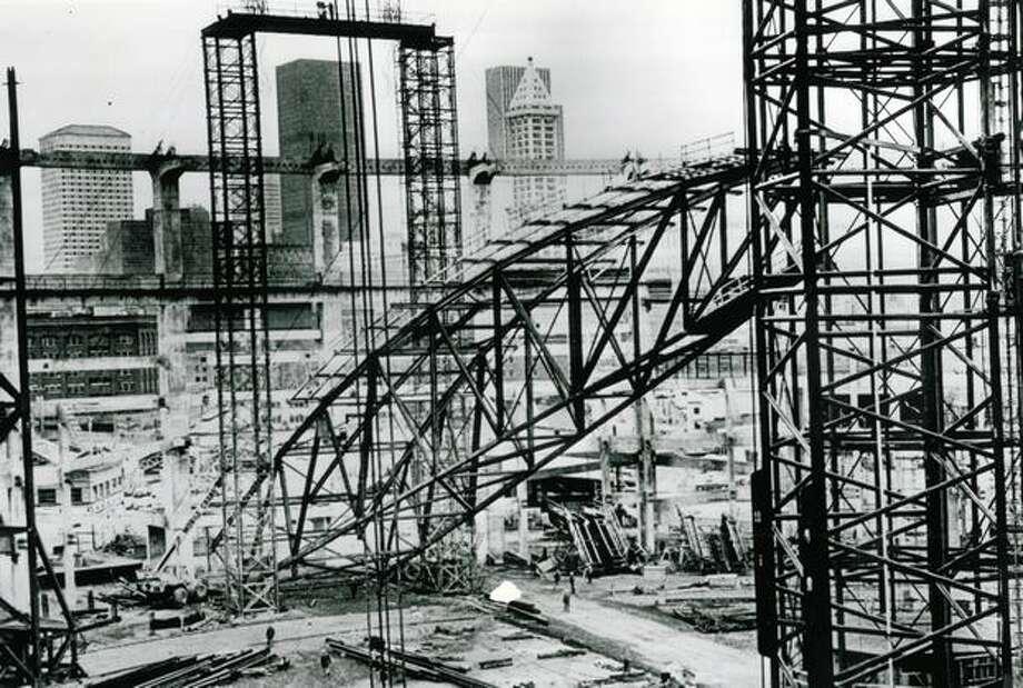 Kingdome construction, April 25, 1974. Photo: P-I File
