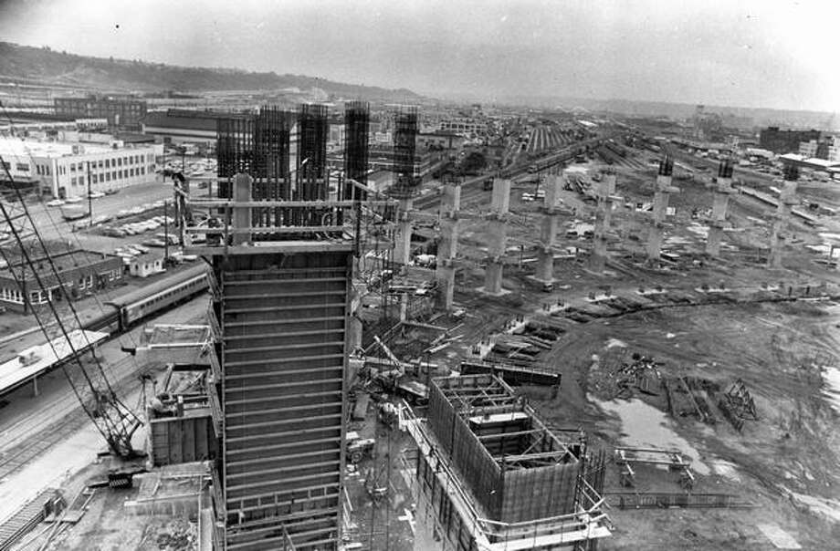 Kingdome construction, June 26, 1973. Photo: P-I File