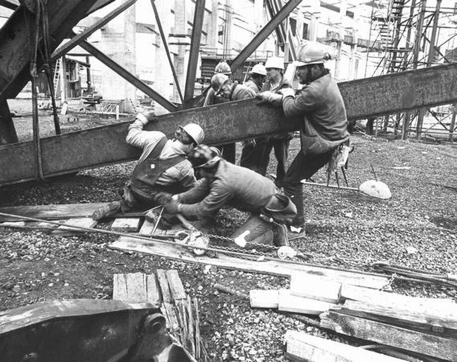 Kingdome construction, April 28, 1974. Photo: P-I File