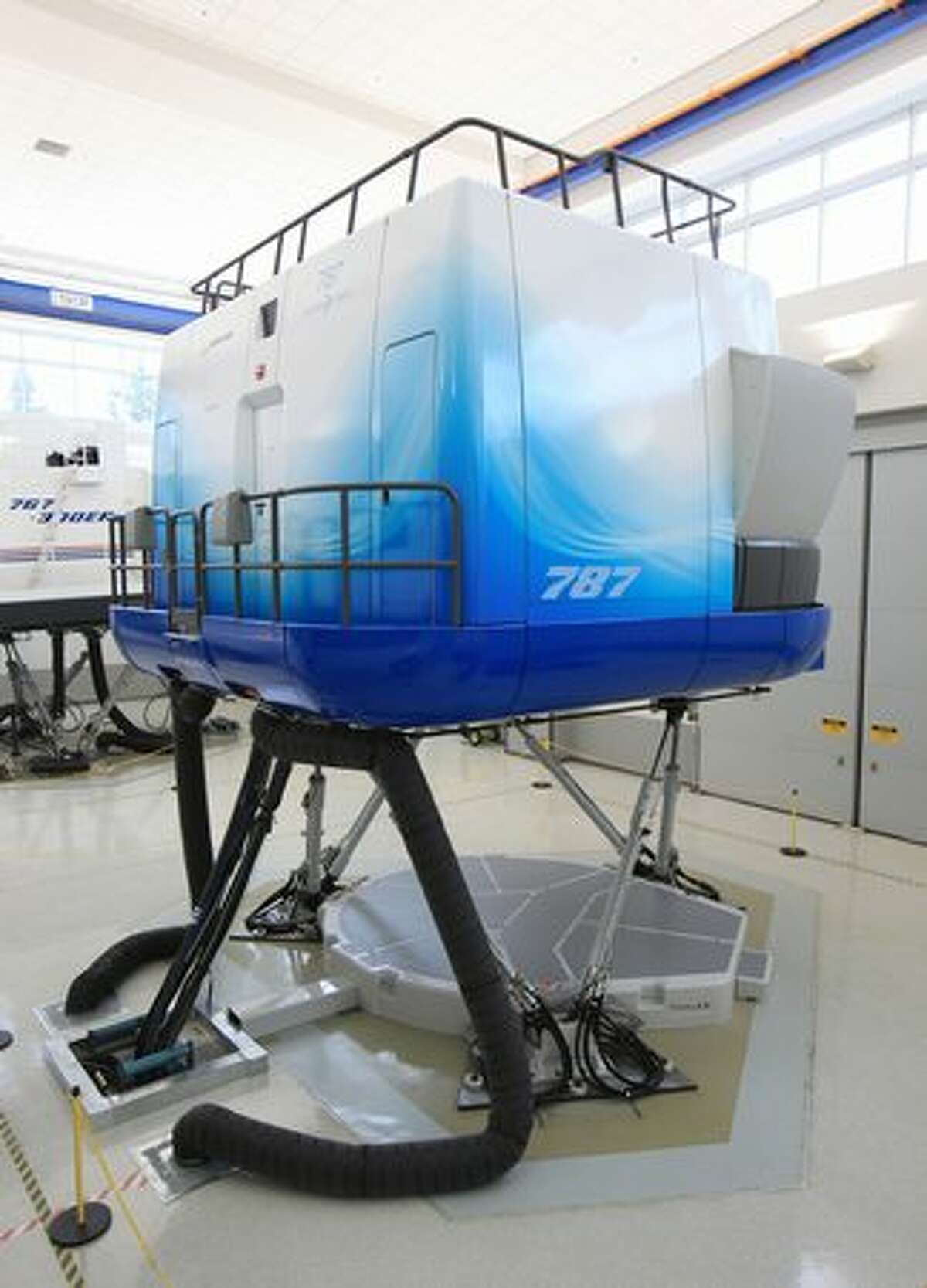 A Boeing 787 Dreamliner full-flight simulator at Boeing's training center in Renton, Wash.