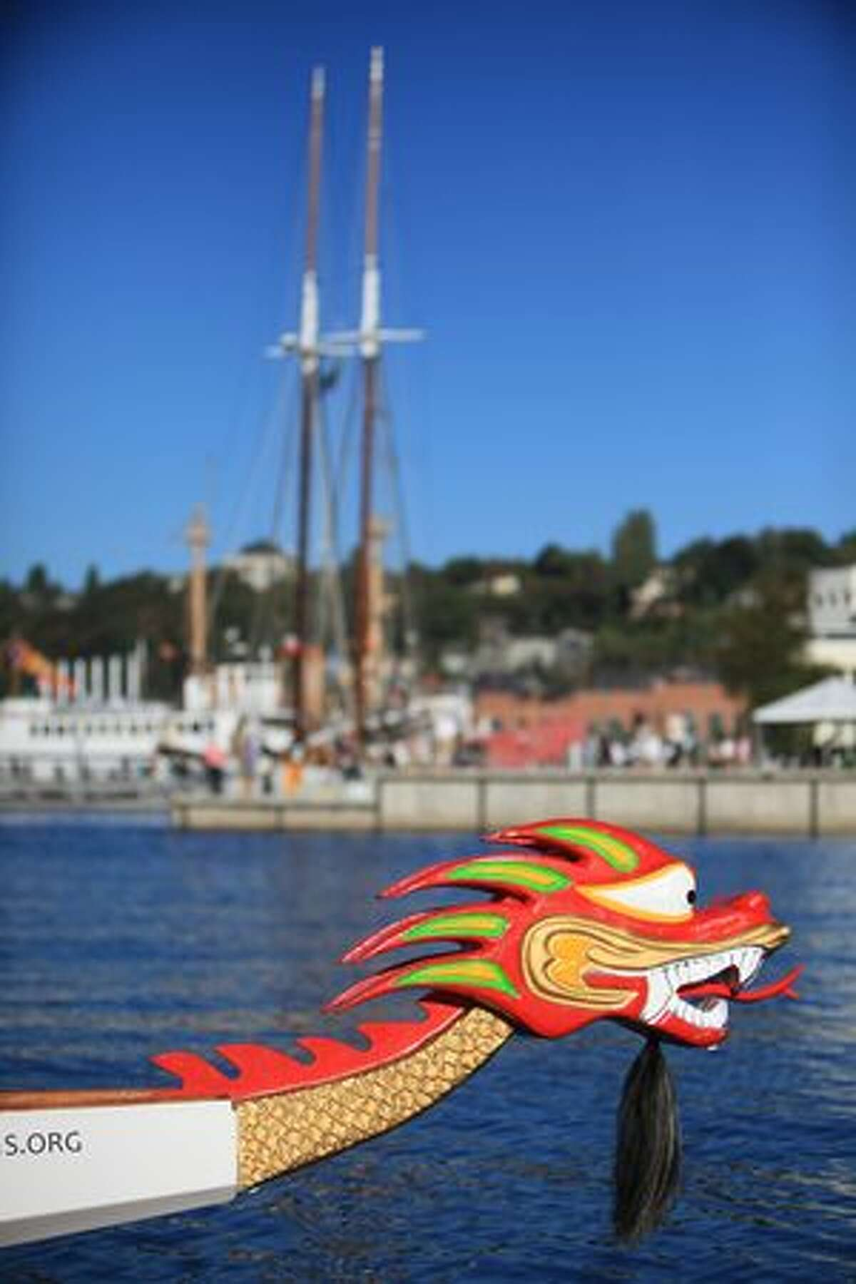 A dragon boat is tied to a dock at the new Lake Union Park on Saturday, September 25, 2010 during the Seattle park's grand opening.