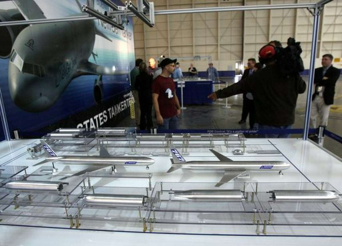 A display shows the new 767 and NewGen Tanker final body join and assembly line planned for Boeing's Everett, Wash., plant.