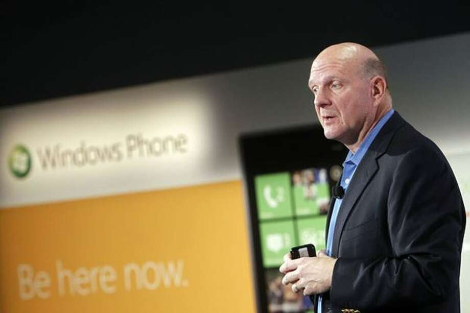 Microsoft CEO Steve Ballmer unveils the new Windows Phone 7 series of devices during a launch event Monday, Oct. 11, 2010, in New York City. Photo: Microsoft