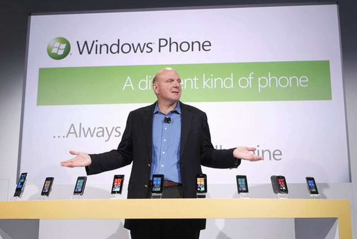 Microsoft CEO Steve Ballmer unveils the new Windows Phone 7 series of devices during a launch event Monday, Oct. 11, 2010, in New York City.
