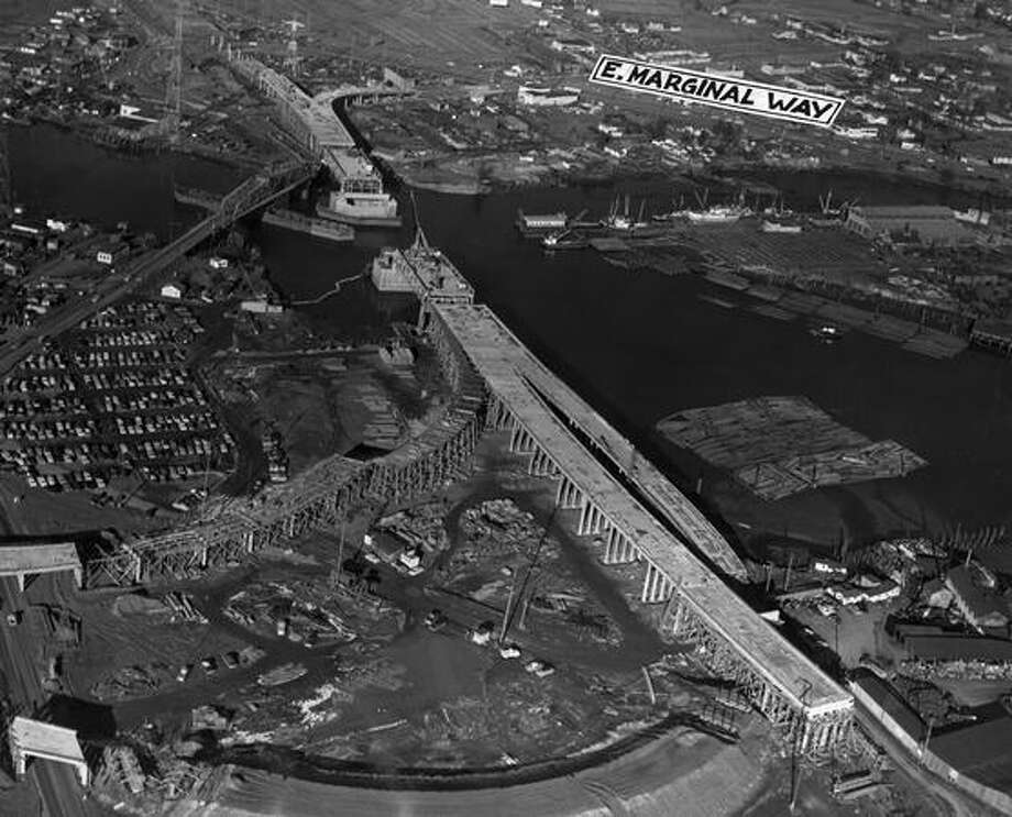 A bird's eye view of First Avenue South Bridge construction progress, February 1956. Photo: P-I File
