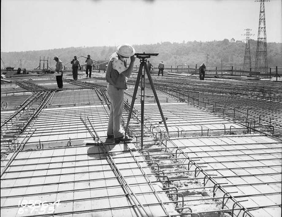 Construction of the First Avenue South Bridge, June 7, 1955. (Seattle Municipal Archives) Photo: P-I File
