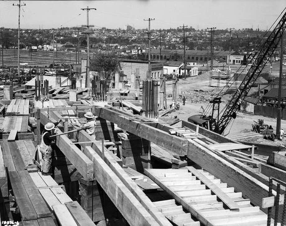 Construction of the First Avenue South Bridge, May 9, 1955. (Seattle Municipal Archives) Photo: P-I File