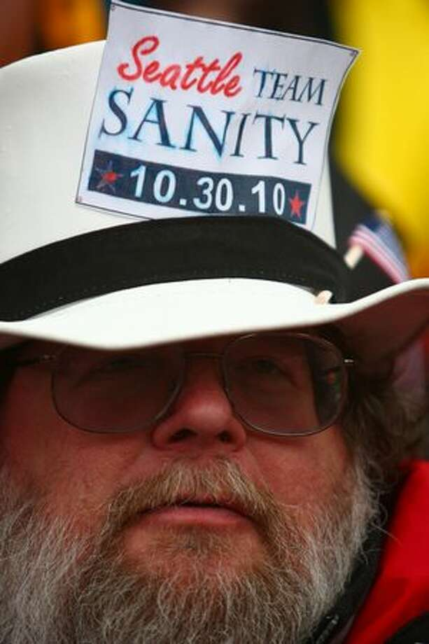 Chuck Sary participates in the Rally To Restore Sanity on Saturday at Westlake Park in Seattle. Photo: Joshua Trujillo, Seattlepi.com